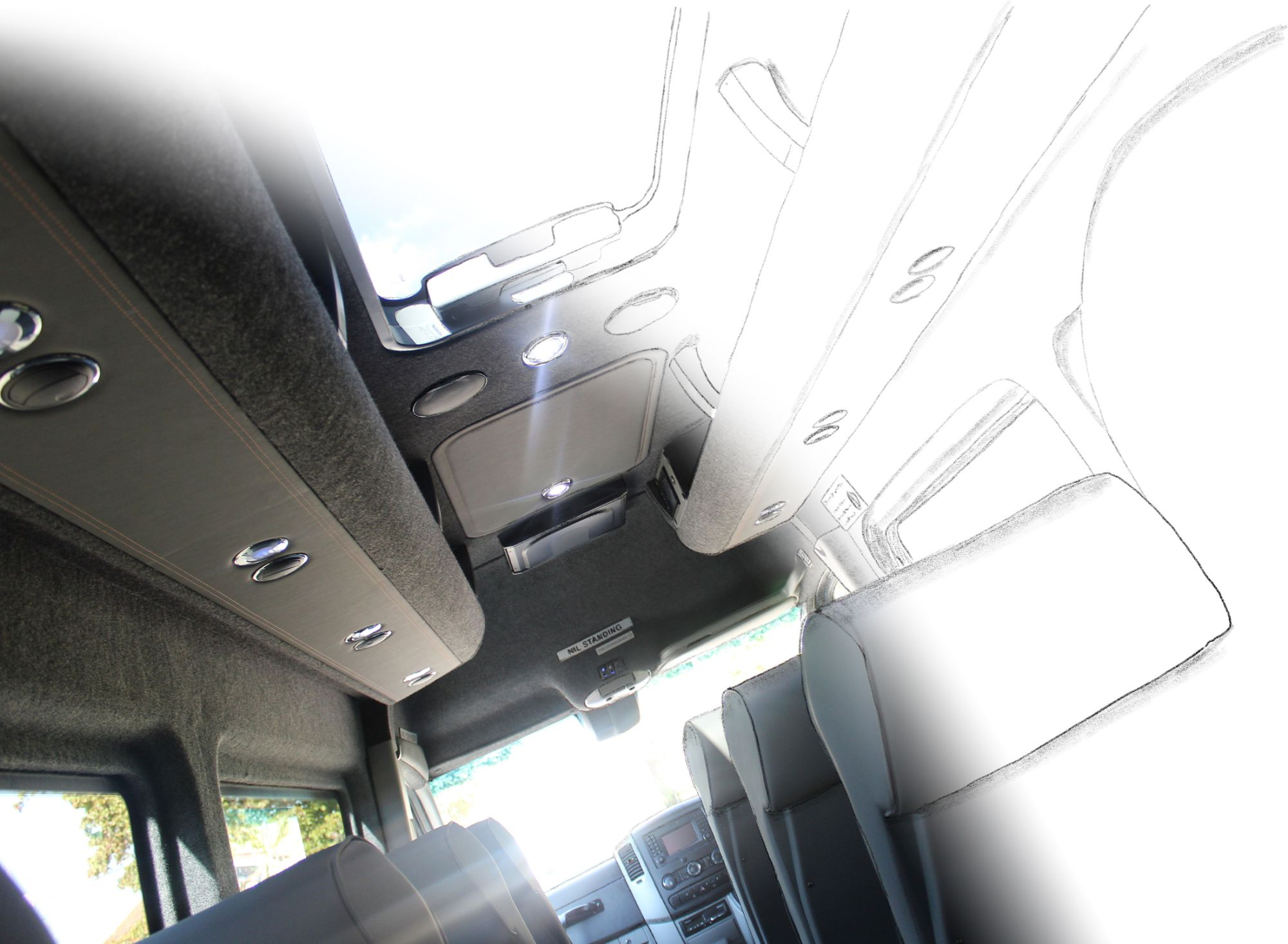 Image of Coach Interior showing Roof and Seating materials