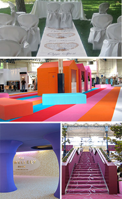 contract carpet, recyclable, carpet, floor covering, vinyl, fake grass, exhibition, event, suppliers, conference, artificial grass, film premi?re, premier, marquee, aisles, gangways, free build, catwalk, fashion show, rock concert